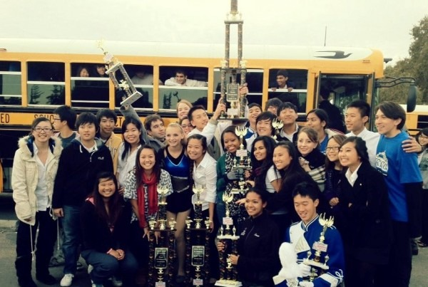 Irvington Marching Band and Colorguard pose with their trophies
