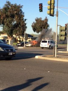 None hurt after car bursts into flames at Blacow-Grimmer intersection