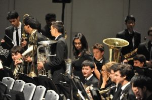 Concert band gets ready to perform at the All-State High School Concert on Feb. 14 at the San Jose Center for Performing Arts (Sankar Bose).