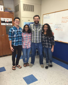 Juniors Calvin Tam, Nickita Gupta, and Aneesha Kumar dressed up as World History teacher Mr. Vucurevich (Photo: Radhika Munshani).
