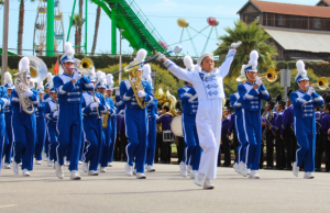 Irvington Varsity Band, led by Justine Du (12), performs in front of the Boardwalk. (Photo: Manbir Ghuman)
