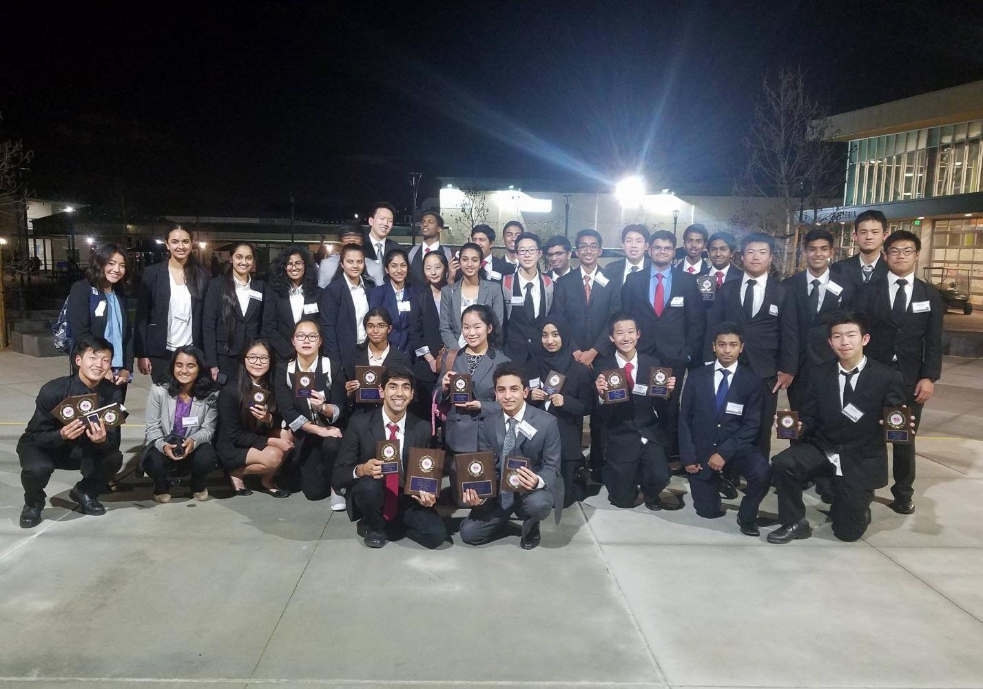 Irvington FBLA members show off their abundance of awards.