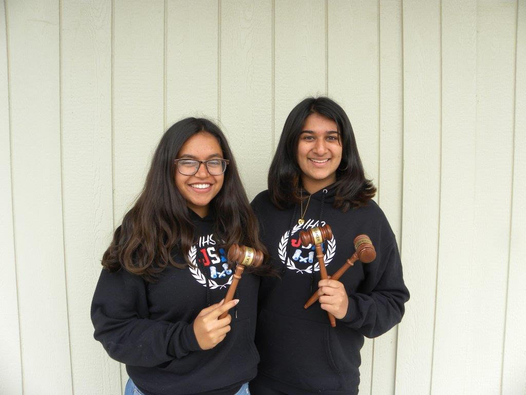 Karina+Gulati+and+Nidhi+Chirayath%2C+pictured+above%2C+hold+trophies%2C+depicting+their+victory+in+the+JSA+Spring+States+competition.