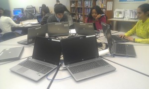 The new laptops allow many students to do their work during lunch time as well.  PC: Rashi Saxena