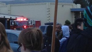 A fire engine comes to IHS, following protocol, on the cold and damp Thursday morning.