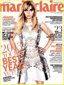 A picture of the supposedly chubby Jennifer Lawrence on the cover of Marie Claire magazine.