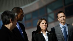 """Former Olympic athletes Caitlin Cahow and Brian Botano, part of the Olympic delegation, represent an indirect message from President Obama to Russian President Vladimir Putin about Russia's policy banning """"pro-gray"""" propaganda.  Photo: news.yahoo.com"""