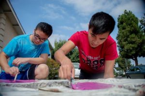 Seniors Ricky Liu (left) and Tony Liao (right) worked very hard on making bench building a success. PC: Jessica Phan
