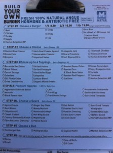 """The """"Build Your Own Burger"""" menu at The Counter. PC: Channing Whitaker"""