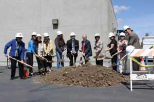 Participants at the groundbreaking ceremony used golden shoves donated by Allen Construction, JLM Inc., and Rodan Builders. (Photo: Shayna Kapadia).