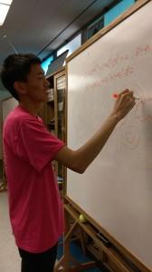 Senior Justin Wang plays Pictionary with friends during advisory. (Photo: Shannon Tseng)