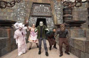 Employees posing outside of the Universal Studios Haunted House of Horrors (Steve Biodrowski)