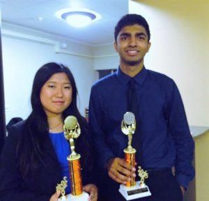 Junior Michelle Huang and senior Aditya Kaushik received 2nd place trophies for their performance in Varsity Parliamentary Debate (Photo: Michelle Huang).