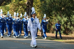 Irvington's drum major, senior Edward Chen, leads the marching band in its march (Photo: Harrison Cheng).