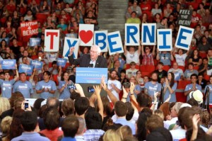 Sanders speaks at a rally (Photo: Gary Fountain)