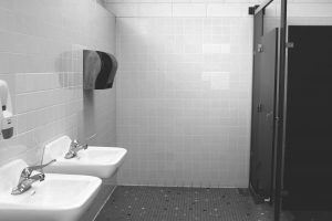 This girl's bathroom, located next to Room 94 and across from Room 106, sees frequent, daily usage from a multitude of students. (Picture: Sabrina Sun).