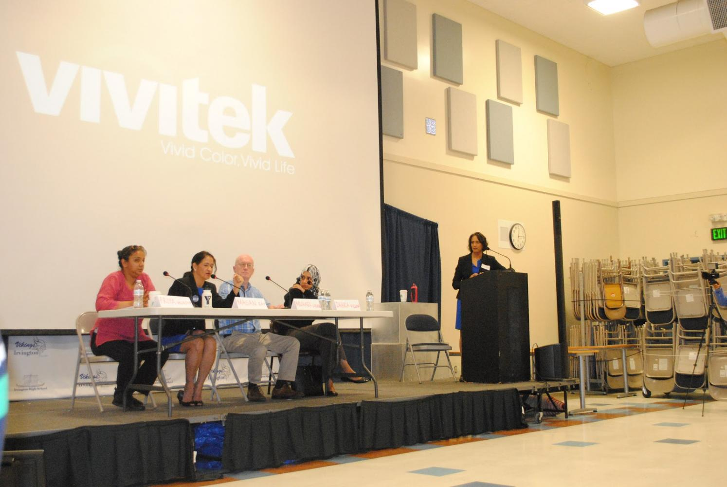 (From left to right) Priya Murthy, Magan Ray, Michael Chase, Zahra Billoo, and Kalpana Peddhibotla introduce themselves at the start of the forum