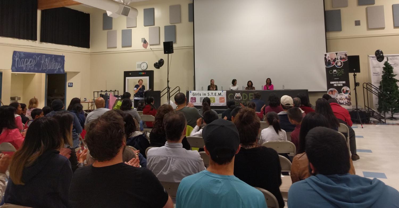 Panel speakers Britanny Bir, Monica Bajaj, Mitali Dhar, and Praniti Lakhwara answer questions from audiences.