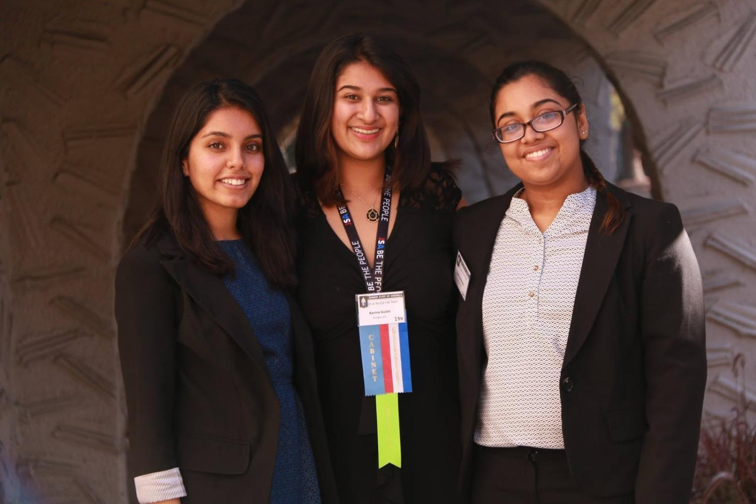 Secretary+and+Treasurer+Kirti+Nangia%2C+President+Karina+Gulati%2C+and+JSA+member+Vani+Anilkumar%2C+along+with+other+JSA+competitors%2C+traveled+to+Santa+Clara+to+compete+in+a+multitude+of+events+and+debates+about+politics+in+the+Norcal+Fall+Convention