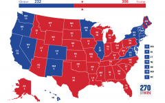 The graphic displays how the electoral votes are divided among states and districts.