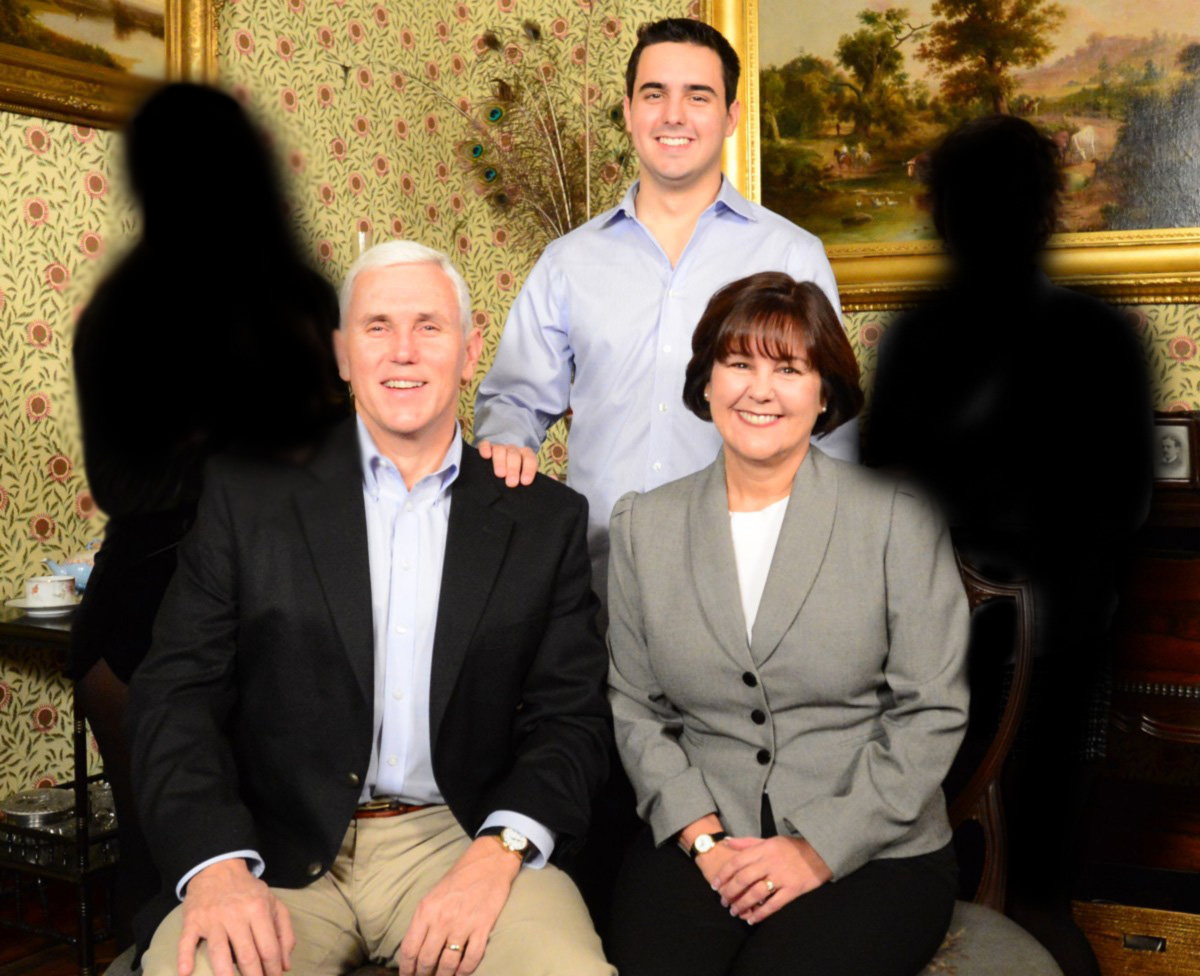 In the Pence family's newly released family portrait, the Pence's quickly edited out their daughters, as they are no longer part of the Pence family