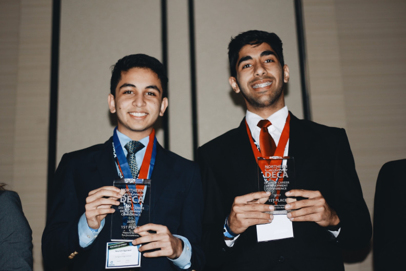 Juniors Sourish Agarwal and Rachit Pareek placed first in their event, Hospitality and Team Decision Making (Photo: Angelica Shao).