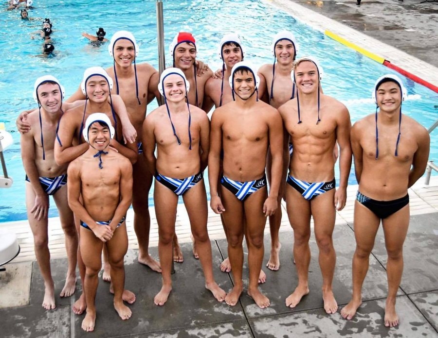 Boys Water Polo poses for a team photo. The team consisted of six seniors and seven juniors this season.