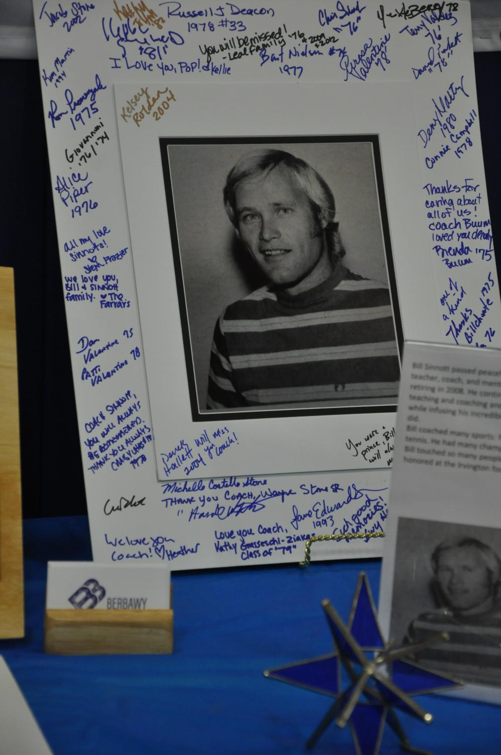Significant mementos, capturing the life of Coach Sinnott at Irvington, were set on display.