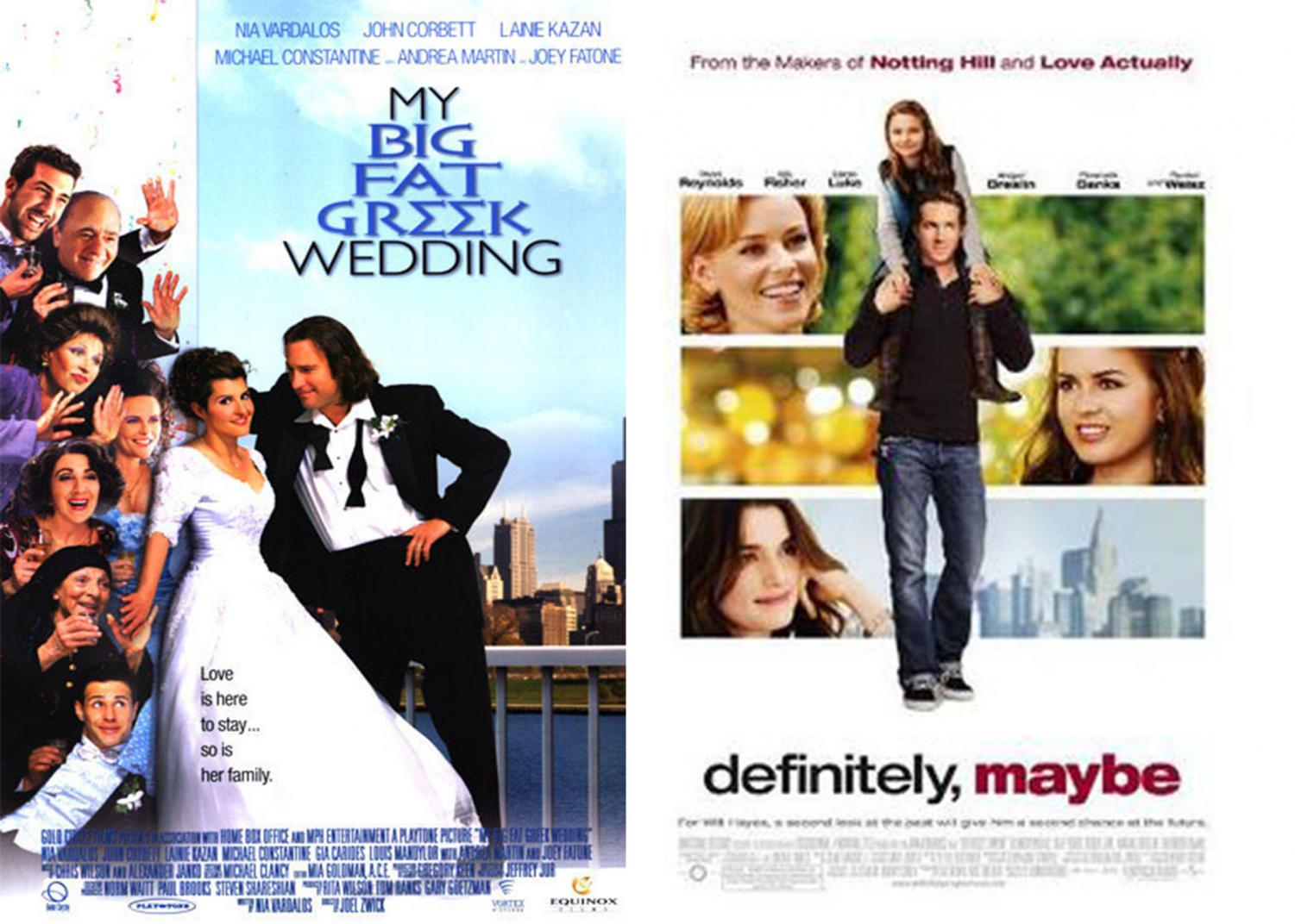 The promotional posters for these two rom-coms.