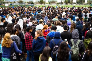 Hundreds of Irvington students march to the black top to protest gun violence.