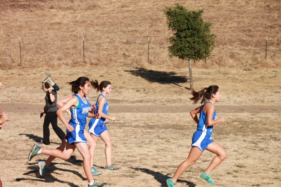 The Varsity Girls team speeds off on the well-trodden trail at the sound of the starting signal.