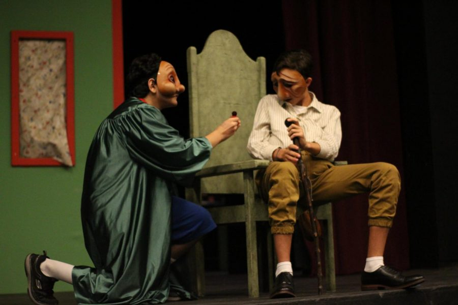"Caption: In Commedia's first skit, ""The Ring,"" Arlecchino (Nooran Roeen) (11), proposes to Pantalone (Finley Cumberworth) (10), with a ring pop."