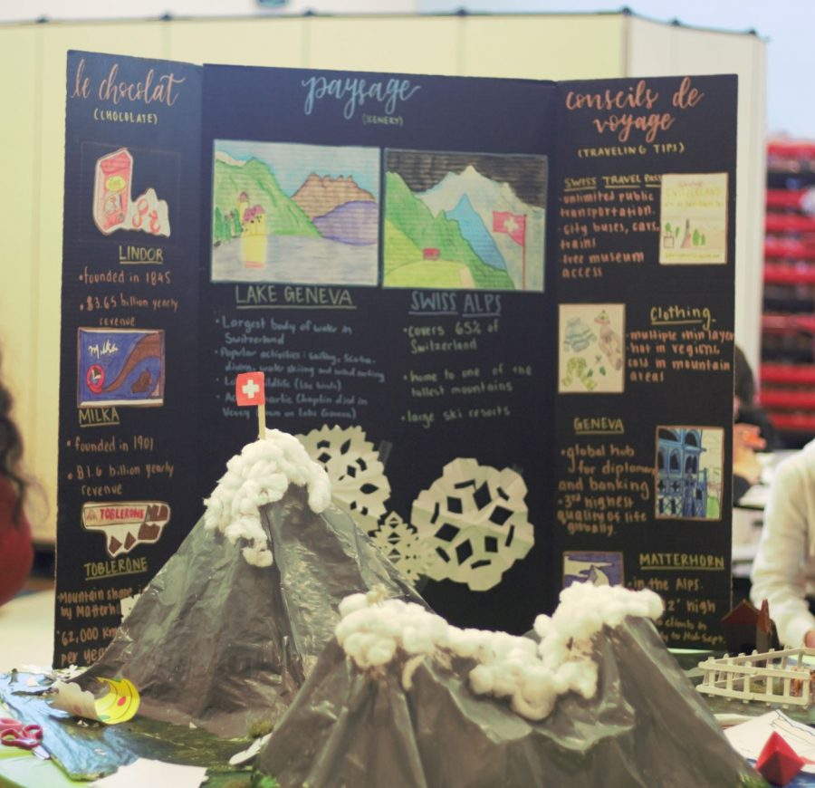 The Switzerland booth featured the Swiss Alps and information on chocolate in Switzerland's culture.