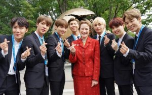 BTS outside the United Nations in New York with Henriette Fore, UNICEF Executive Director