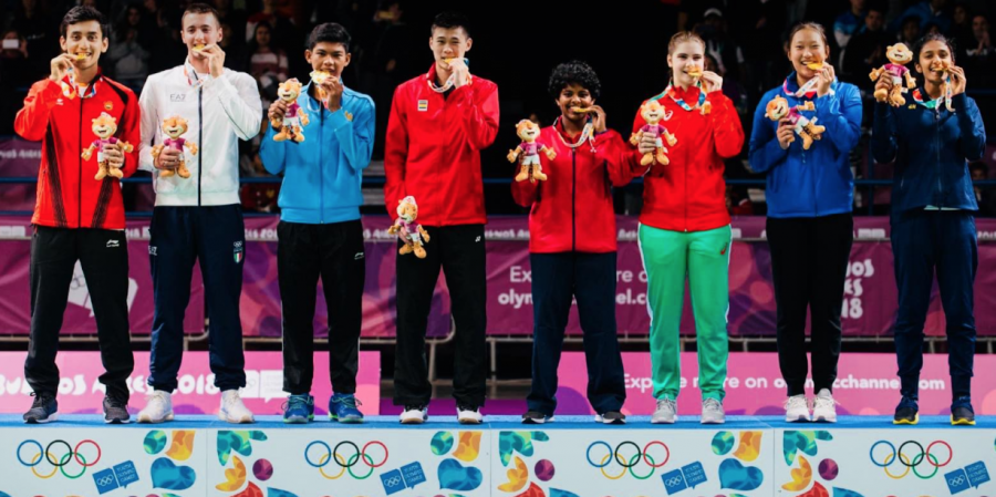 Jennie Gai (second from the right) won gold at the Youth Olympic Games in the Mixed Team Relay Event in Buenos Aires, Argentina.