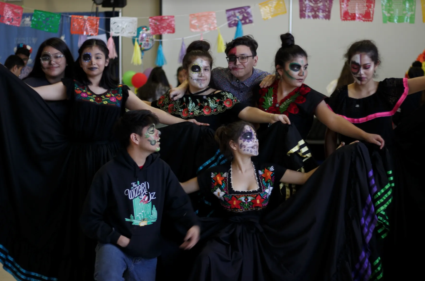 For the first time in the event's history, students in intricate costumes and artfully paint- ed faces participated in Mescalito, an energetic Wahakan-style dance that originated in  Oaxaca, Mexico, to Spanish songs by popular Mexican singer Lila Downs.