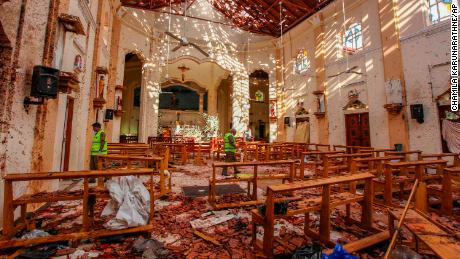 St.Sebastian church in ruins after the Easter Sunday bombings in Sri Lanka