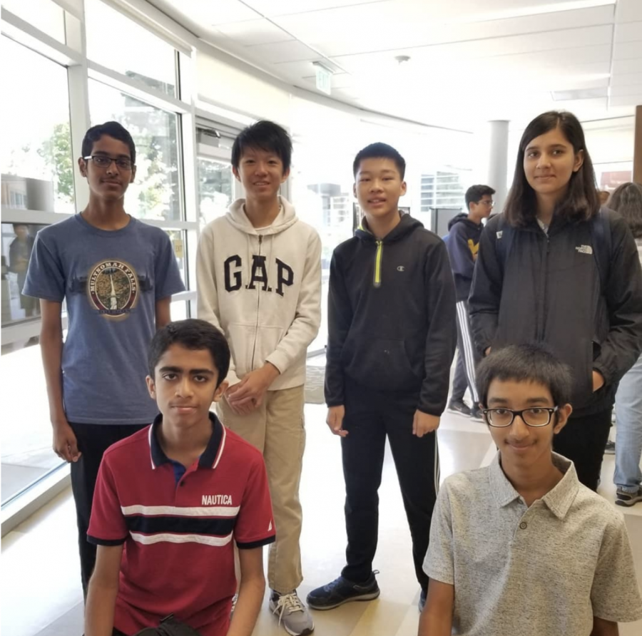 Quiz Bowl score a 6-4 win-loss record at Bay Area Fall Novice tournament. (Top row from left: Ambareesh S., Kaiwen X., Vincent W., Harnoor N. Bottom row from left: Amanvir P., Ayush P.) Picture credit: Irvington Quiz Bowl