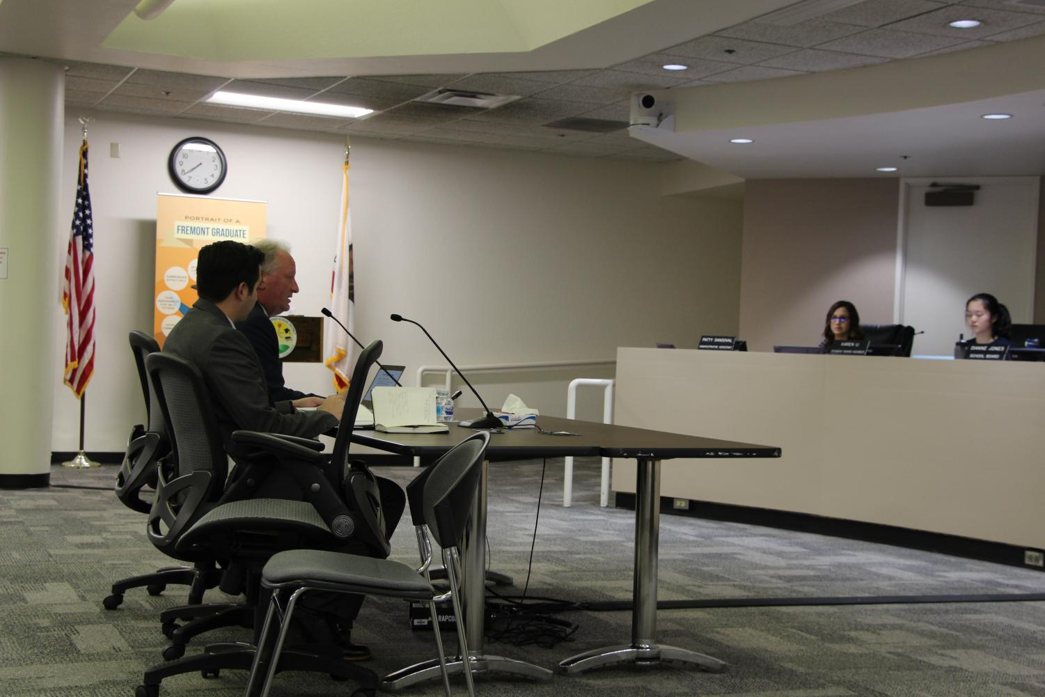 FUSD's lawyer Peter Fagen and demographer Jacob Gomez explain the process behind creating the draft maps at the public hearing regarding draft maps on Oct. 30th. There will be two additional meetings for public input before the final vote on the trustee voting area maps in December.
