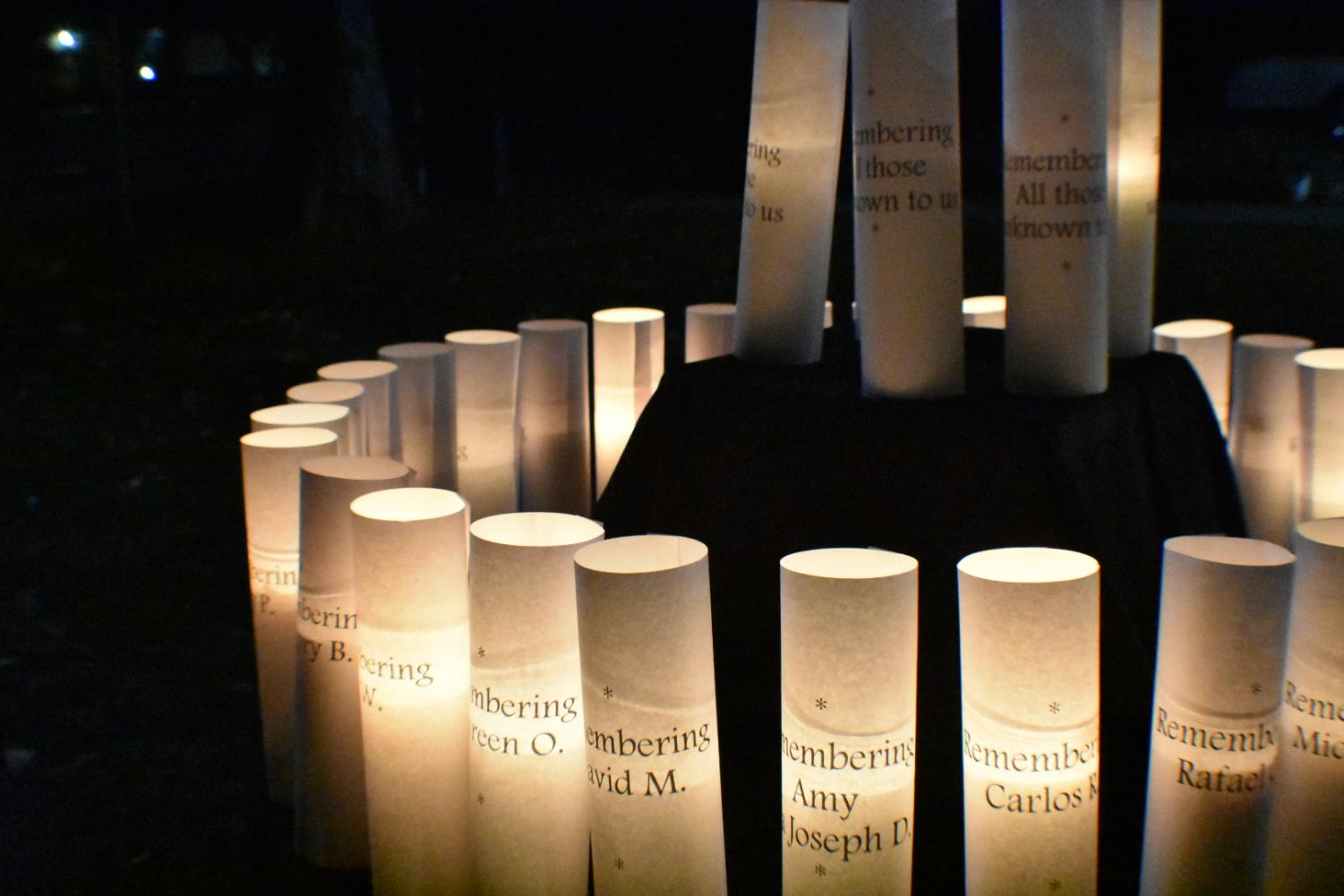 The shrine included the names of more than 24 people who passed away in the Alameda and Santa Clara Counties this year.