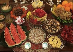 Pictured is traditional Persian food eaten on Yalda.