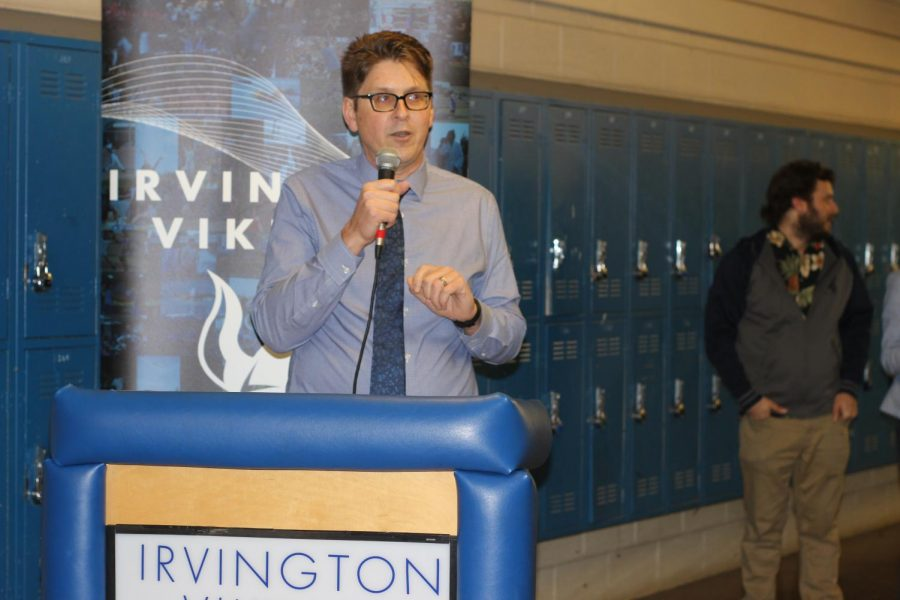 Assistant Principal Honerkamp (pictured above) delivers a speech at the Grand Open- ing of Irvington's first Wellness Center.