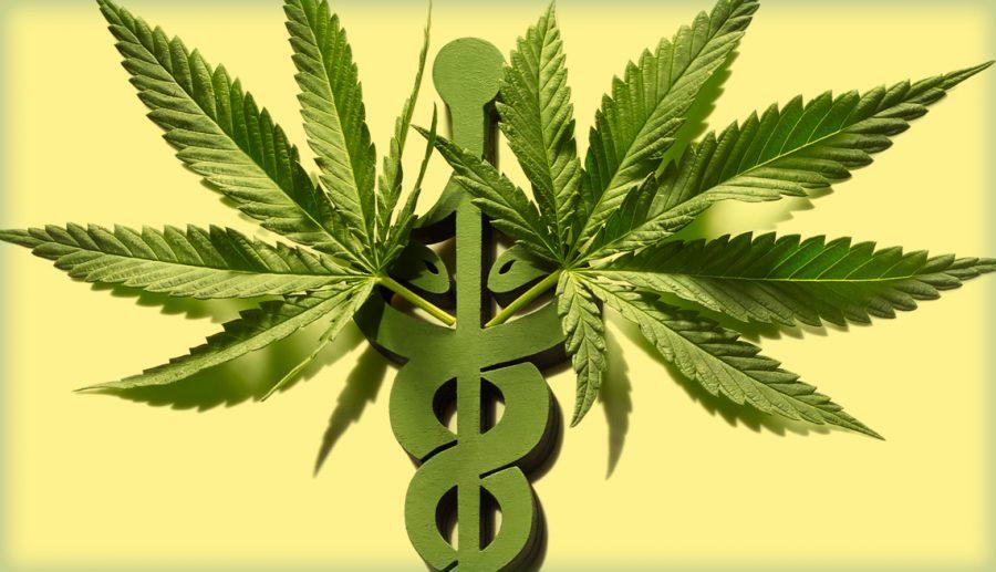 Marijuana leaves on medical symbol