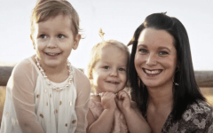 Shannan Watts and her daughters Bella (left) and Celeste (middle) grin happily in a picture at a family photoshoot.