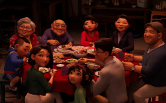The movie emphasizes family devotion and togetherness, as shown here as Fei Fei's family enjoys dinner together during the Mid-Autumn Festival. (Polygon)