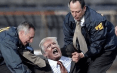 Trump (center) getting dragged out of the White House by FBI.