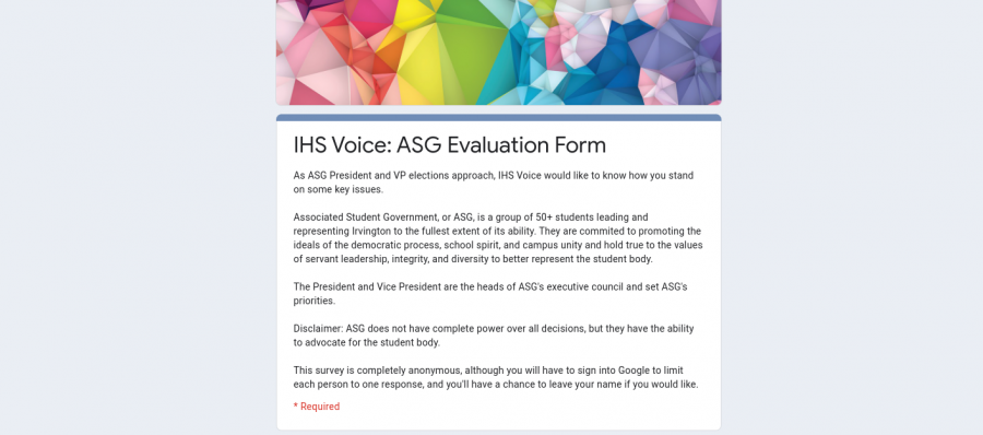 Results from the Irvington Voice's ASG Evaluation Form