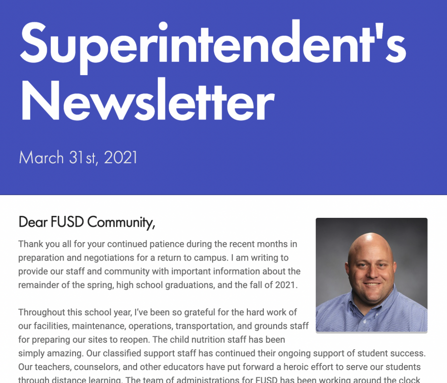 Superintendent CJ Cammack's March 31st newsletter announcing that schools will be closed for the remainder of the school year.