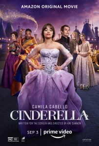 Cinderella promotional picture, featuring Idina Menzel, Billy Porter, Camila Cabello, Nicholas Galitzine, Pierce Brosnan, and Minnie Driver (from left to right)